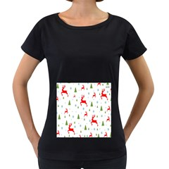 Christmas Pattern Women s Loose-Fit T-Shirt (Black)