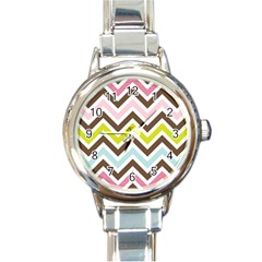 Chevrons Stripes Colors Background Round Italian Charm Watch