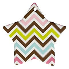 Chevrons Stripes Colors Background Ornament (Star)