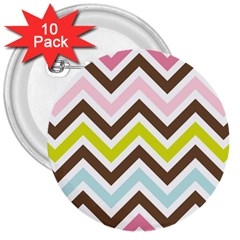 Chevrons Stripes Colors Background 3  Buttons (10 pack)