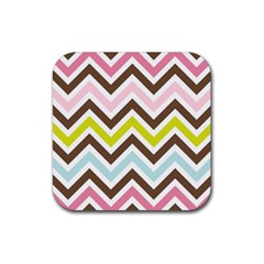Chevrons Stripes Colors Background Rubber Square Coaster (4 pack)