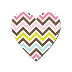 Chevrons Stripes Colors Background Heart Magnet