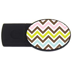 Chevrons Stripes Colors Background USB Flash Drive Oval (4 GB)