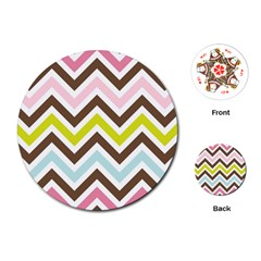 Chevrons Stripes Colors Background Playing Cards (Round)