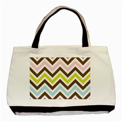 Chevrons Stripes Colors Background Basic Tote Bag