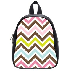 Chevrons Stripes Colors Background School Bags (Small)