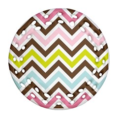 Chevrons Stripes Colors Background Round Filigree Ornament (Two Sides)