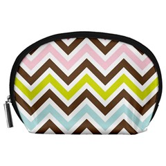 Chevrons Stripes Colors Background Accessory Pouches (Large)