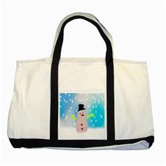 Christmas Snowman Two Tone Tote Bag