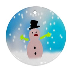 Christmas Snowman Round Ornament (Two Sides)