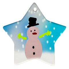 Christmas Snowman Star Ornament (Two Sides)