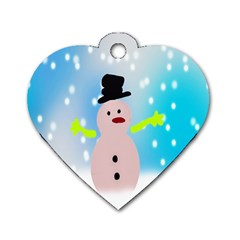 Christmas Snowman Dog Tag Heart (Two Sides)