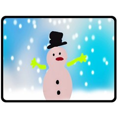 Christmas Snowman Fleece Blanket (Large)