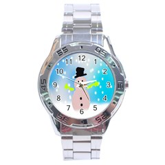 Christmas Snowman Stainless Steel Analogue Watch