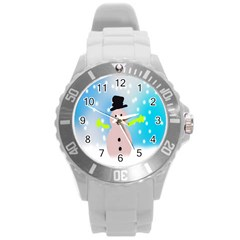 Christmas Snowman Round Plastic Sport Watch (L)
