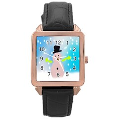 Christmas Snowman Rose Gold Leather Watch