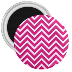 Chevrons Stripes Pink Background 3  Magnets