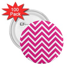 Chevrons Stripes Pink Background 2.25  Buttons (100 pack)