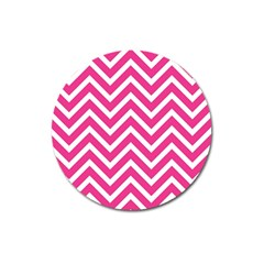 Chevrons Stripes Pink Background Magnet 3  (round)