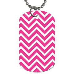 Chevrons Stripes Pink Background Dog Tag (Two Sides)