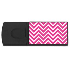Chevrons Stripes Pink Background USB Flash Drive Rectangular (2 GB)