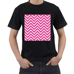 Chevrons Stripes Pink Background Men s T-Shirt (Black) (Two Sided)