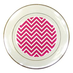 Chevrons Stripes Pink Background Porcelain Plates
