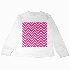 Chevrons Stripes Pink Background Kids Long Sleeve T-Shirts