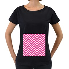 Chevrons Stripes Pink Background Women s Loose-Fit T-Shirt (Black)