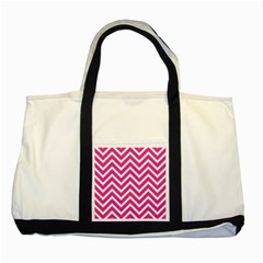 Chevrons Stripes Pink Background Two Tone Tote Bag