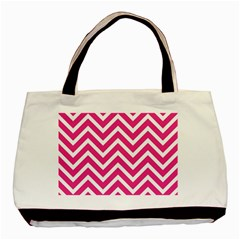 Chevrons Stripes Pink Background Basic Tote Bag (two Sides)