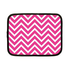 Chevrons Stripes Pink Background Netbook Case (Small)