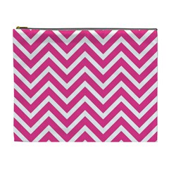 Chevrons Stripes Pink Background Cosmetic Bag (XL)