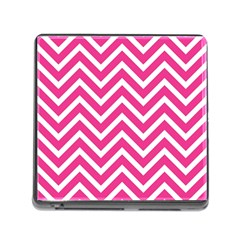 Chevrons Stripes Pink Background Memory Card Reader (Square)