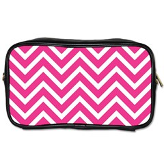 Chevrons Stripes Pink Background Toiletries Bags 2-Side