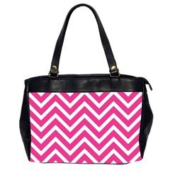 Chevrons Stripes Pink Background Office Handbags (2 Sides)