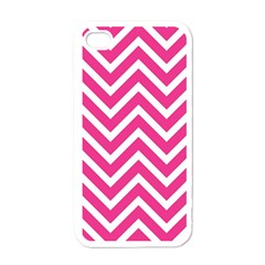 Chevrons Stripes Pink Background Apple iPhone 4 Case (White)