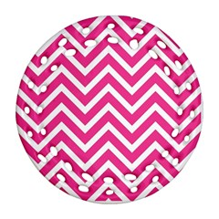 Chevrons Stripes Pink Background Ornament (Round Filigree)