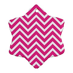 Chevrons Stripes Pink Background Ornament (Snowflake)