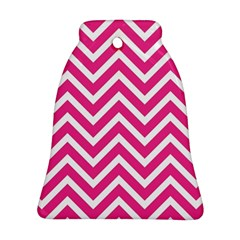 Chevrons Stripes Pink Background Bell Ornament (Two Sides)