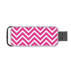 Chevrons Stripes Pink Background Portable USB Flash (One Side)