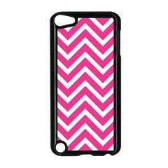 Chevrons Stripes Pink Background Apple iPod Touch 5 Case (Black)