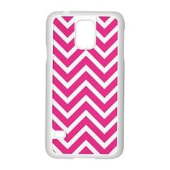Chevrons Stripes Pink Background Samsung Galaxy S5 Case (white)