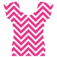 Chevrons Stripes Pink Background Women s V-Neck Cap Sleeve Top