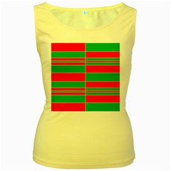 Christmas Colors Red Green Women s Yellow Tank Top