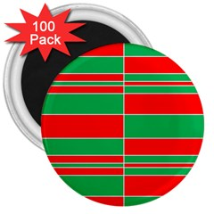 Christmas Colors Red Green 3  Magnets (100 pack)