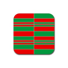 Christmas Colors Red Green Rubber Square Coaster (4 Pack)