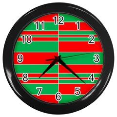Christmas Colors Red Green Wall Clocks (Black)