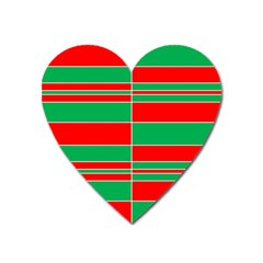 Christmas Colors Red Green Heart Magnet