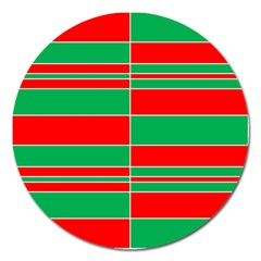 Christmas Colors Red Green Magnet 5  (Round)